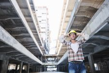 Free Hard Worker On Construction Site Royalty Free Stock Photo - 21379485