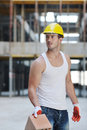 Free Hard Worker On Construction Site Royalty Free Stock Photos - 21385508