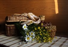 Free Flowers In A Basket. Stock Photography - 21380032