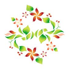 Element Of An Ornament With Red Flowers And Cherry Stock Images