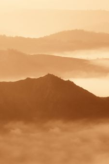 Foggy Panorama At Sunset Royalty Free Stock Photo