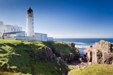 Rua Reidh Lighthouse And Crevice Stock Photography