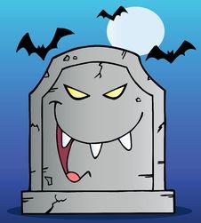 Free Gravestone Under Bats On Blue Royalty Free Stock Photos - 21383318