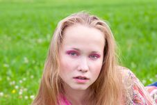 Free Closeup Portrait Of A Young Girl In A Meadow Royalty Free Stock Images - 21384189