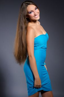 Free Beautiful Brunette Girl In Blue Dress Stock Photo - 21384210
