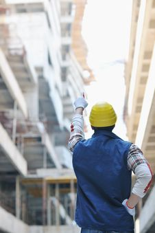 Free Hard Worker On Construction Site Stock Photography - 21384942
