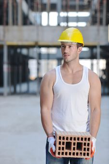 Free Hard Worker On Construction Site Stock Photos - 21385413