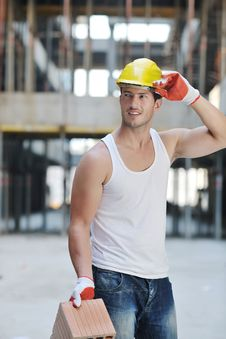 Free Hard Worker On Construction Site Stock Photo - 21385790