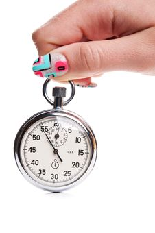 Free Woman Hand With Stopwatch Royalty Free Stock Images - 21387869