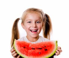 Free Little Girl Eating Big Piece Of Watermelon Stock Photos - 21388293