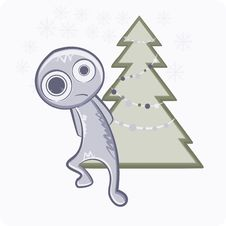 Free Snowman With Christmas Tree Stock Images - 21390564