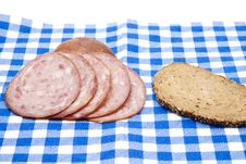 Free Sausage With Bread On Napkin Royalty Free Stock Photos - 21390898