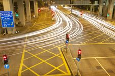 Free Hong Kong Light Trails At Night Stock Photos - 21393833
