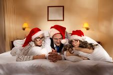 Free Trio On New Year S Night Royalty Free Stock Photography - 21394037
