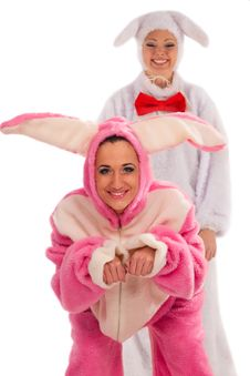 Free Pink Rabbit Jumping On White Rabbit Stock Photo - 21394040