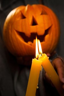 Free Halloween Glowing Pumpkins With Two Glowing Royalty Free Stock Images - 21394069