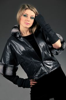 Woman In Leather Jacket Stock Photos