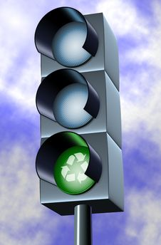 Green Light For Recycling Royalty Free Stock Photo