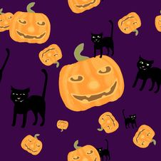Free Halloween Background Black Cat And Pumpkins Royalty Free Stock Image - 21395116