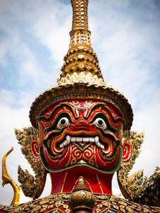 Native Thai Style Giant Statues Royalty Free Stock Photography