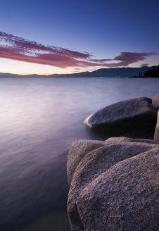 Free Tahoe Sunset Rocks Royalty Free Stock Image - 21396526