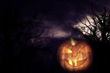 Free Scary Pumpkin Royalty Free Stock Photography - 21397917