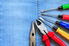 Free Tools On Denim Royalty Free Stock Photography - 21399207