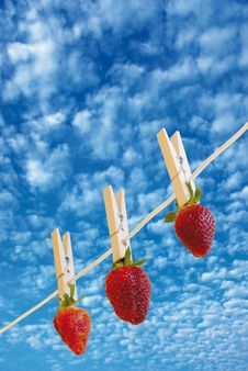 Free Strawberry S On Cloudy Sky Royalty Free Stock Photo - 2140015