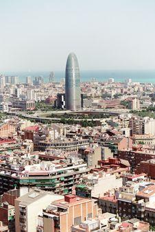 Free Barcelona Cityscape Royalty Free Stock Photography - 2141177