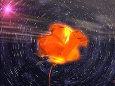 Flower In Space  3d Stock Photo