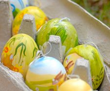 Easter Eggs In Carton Stock Image