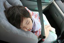 Free Boy Fasten Seat Belt Sleeping Stock Photos - 2144423