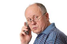 Free Senior Man On The Phone Royalty Free Stock Photography - 2146857
