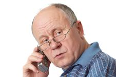 Free Senior Man On The Phone Stock Photo - 2147100