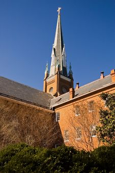 Free Church Steeple And Courtyard Royalty Free Stock Photography - 2148597