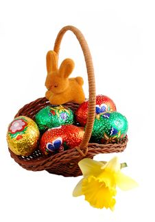 Free Easter Basket With Rabbit Stock Photography - 2149982