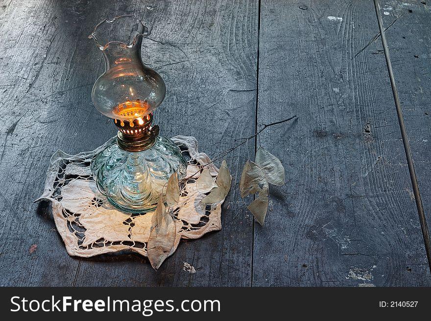 Ancient vintage oil lamp