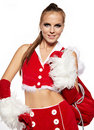 Free Girl In Santa Claus Suit With Gift Bag Over White Stock Photography - 21404682