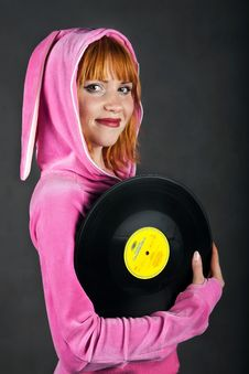 Young Girl In Pink With Gramophone Record Royalty Free Stock Photo