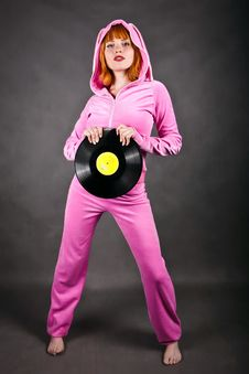 Young Girl In Pink With Gramophone Record