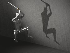 Free 3D Warrior Attacking In Jump Stock Photography - 21403652