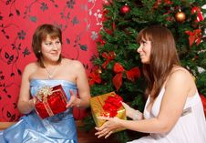 Free Two Young  Women With Gifts Royalty Free Stock Photography - 21403747