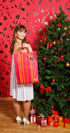 Free Young  Woman Near A Fir-tree Stock Image - 21403751