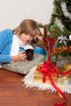Young Woman Near A Fir-tree Stock Photo