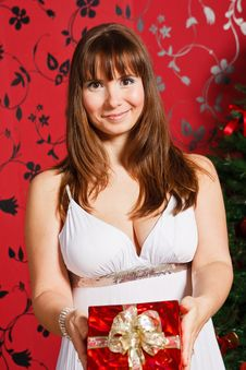 Free Young  Woman With Red Fift-box Stock Images - 21404344