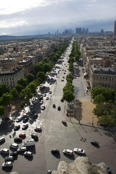 Paris View From Arc De Triumph Stock Photo