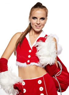 Girl In Santa Claus Suit With Gift Bag Over White Stock Photography