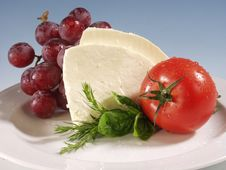 Free Mozarella On White Plate Royalty Free Stock Photos - 21406528