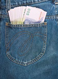 500 Baht Bill In Jean Pocket Stock Photo