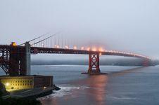 Free Fog Over Golden Gate Bridge During Sunset Stock Image - 21412951